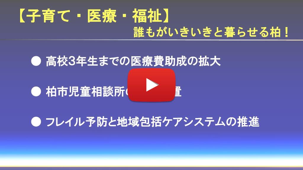中沢ひろたかが柏市政で実現したい【子育て・医療・福祉】のスライド